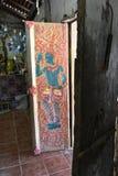 Ταϊλανδικό ` s που χρωματίζεται στην πόρτα Si Po Chai, περιοχή NA Haeo, επαρχία Loei, Ταϊλάνδη Wat Στοκ φωτογραφία με δικαίωμα ελεύθερης χρήσης