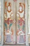 Ταϊλανδικό ` s που χρωματίζεται στην πόρτα Si Po Chai, περιοχή NA Haeo, επαρχία Loei, Ταϊλάνδη Wat Στοκ Εικόνες