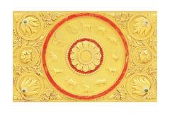 Ταϊλανδικό zodiac 12 στον τοίχο στο ναό Στοκ Φωτογραφίες