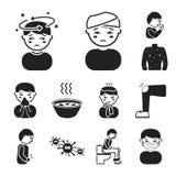 Τα άρρωστα μαύρα εικονίδια ατόμων στην καθορισμένη συλλογή για το σχέδιο Διανυσματική απεικόνιση Ιστού αποθεμάτων συμβόλων ασθένε Στοκ φωτογραφίες με δικαίωμα ελεύθερης χρήσης