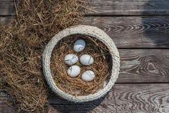 Τα άσπρα αυγά βάζουν στο πλεκτό άσπρο pottle με τον ξηρό σανό μέσα στον ξύλινο ηλικίας πίνακα στοκ φωτογραφίες με δικαίωμα ελεύθερης χρήσης