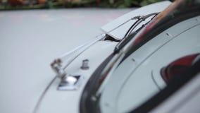 Τα άσπρα άσπρα λουλούδια γαμήλιων αυτοκινήτων και οι πορφυρές κορδέλλες κρεμούν με το αυτοκίνητο απόθεμα βίντεο