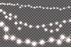 Τα άσπρα ρεαλιστικά Χριστούγεννα ανάβουν τις διακοσμήσεις καθορισμένες απομονωμένες στο διαφανές υπόβαθρο Στοκ Εικόνες
