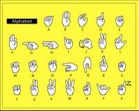 Τα άσπρα χέρια κάνουν τη γλώσσα σημαδιών αλφάβητου Στοκ Φωτογραφία