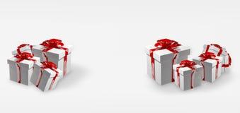 Τα άσπρα δώρα Χριστουγέννων με τις κόκκινες κορδέλλες τρισδιάστατες δίνουν διανυσματική απεικόνιση