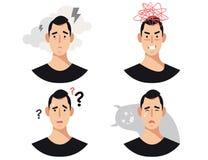 Τα άτομα διευθύνουν με τη διανοητική ασθένεια, τις αναταραχές, τα impairments, τα ψυχιατρικά ή ψυχολογικά προβλήματα διανυσματική απεικόνιση