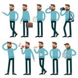 Τα άτομα κινούμενων σχεδίων που ενεργούν με διαφορετικό θέτουν Στοκ Εικόνες