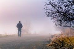 Τα άτομα σκιαγραφούν στην ομίχλη Στοκ Εικόνες