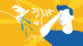 Τα άτομα σκιαγραφούν στους τομείς καλλιέργειας Αφηρημένο διάνυσμα Αγροτουρισμός _ Στοκ Εικόνες