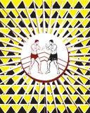 Τα άτομα σχεδίων υποβάθρου παλεύουν κίτρινο Στοκ Εικόνες