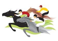 τα άλογα αλόγων λουριών συναγωνίζονται τη στρογγυλοποίηση της στροφής τρία διανυσματική απεικόνιση