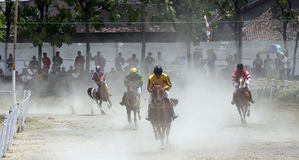 τα άλογα αλόγων λουριών συναγωνίζονται τη στρογγυλοποίηση της στροφής τρία Στοκ Εικόνες
