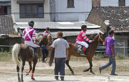τα άλογα αλόγων λουριών συναγωνίζονται τη στρογγυλοποίηση της στροφής τρία Στοκ εικόνες με δικαίωμα ελεύθερης χρήσης