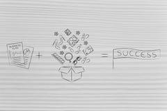 Τα έγγραφα στρατηγικής συν μια μεγάλη σειρά προϊόντων είναι ίσα με την επιτυχία Στοκ φωτογραφία με δικαίωμα ελεύθερης χρήσης
