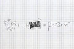 Τα έγγραφα στρατηγικής συν το μάρκετινγκ προϊόντος είναι ίσα με την επιτυχία Στοκ Εικόνες