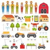 Τα έξυπνα εικονίδια καλλιέργειας αυτοματοποίησης γεωργίας θέτουν με τις απομονωμένες εικόνες του αγρότη και του ρομπότ διανυσματική απεικόνιση