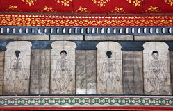 Τα έργα ζωγραφικής στο ναό Wat Pho διδάσκουν Στοκ Εικόνες
