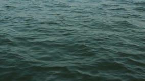 Τα ήρεμα ωκεάνια νερά από την άκρη sailboat φιλμ μικρού μήκους