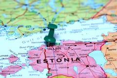 Ταλίν που καρφώνεται σε έναν χάρτη της Ευρώπης Στοκ εικόνα με δικαίωμα ελεύθερης χρήσης