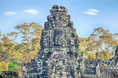 Τα αγάλματα ναών Bayon, Angkor, Siem συγκεντρώνουν, Καμπότζη Στοκ Φωτογραφία