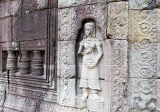Τα αγάλματα σε Angkor Wat, Καμπότζη, Siem συγκεντρώνουν Στοκ Εικόνα