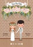Τα αγροτικά λουλούδια ανθών ζευγών κινούμενων σχεδίων σώζουν την κάρτα γαμήλιας πρόσκλησης ημερομηνίας διανυσματική απεικόνιση