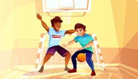 Τα αγόρια κολλεγίου παίζουν τη διανυσματική απεικόνιση καλαθοσφαίρισης απεικόνιση αποθεμάτων