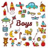 Τα αγόρια σχεδιάζουν τα στοιχεία Χαριτωμένη συρμένη χέρι συλλογή αγοριών των παιχνιδιών Στοκ Εικόνες
