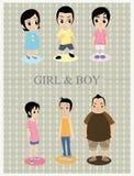 τα αγόρια τέχνης ψαλιδίζουν τα κορίτσια Στοκ Εικόνες