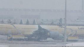 Τα αεροσκάφη της Lufthansa αποπαγώνουν το μαξιλάρι, ξεπάγωμα, αερολιμένας του Μόναχου απόθεμα βίντεο