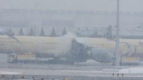 Τα αεροσκάφη της Lufthansa αποπαγώνουν το μαξιλάρι, ξεπάγωμα, αερολιμένας του Μόναχου φιλμ μικρού μήκους