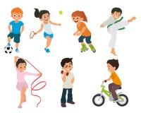 Τα αθλητικά παιδιά περιλαμβάνονται ενεργά στον αθλητισμό ελεύθερη απεικόνιση δικαιώματος