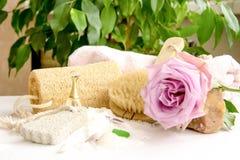 Τα αλατισμένα κρύσταλλα θάλασσας για το λουτρό, ελαφρόπετρα, luff, αυξήθηκαν λουλούδι, σώμα Στοκ εικόνα με δικαίωμα ελεύθερης χρήσης