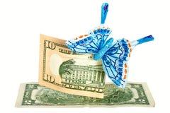 τα αμερικανικά δολάρια πεταλούδων σημειώνουν δύο Στοκ φωτογραφία με δικαίωμα ελεύθερης χρήσης