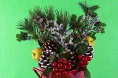 τα ανάμεικτα Χριστούγεννα κάδων ρύθμισης αργιλίου διακοσμούν το κόκκινο Στοκ Εικόνα
