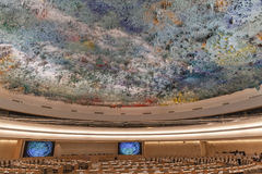 Τα ανθρώπινα δικαιώματα και συμμαχία του δωματίου πολιτισμών στα Η.Ε Γενεύη Στοκ Φωτογραφία