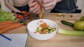 Τα ανθρώπινα χέρια βάζουν το τεμαχισμένα φρέσκα καρότο και το αγγούρι για να κάνουν τη φρέσκια θερινή σαλάτα για το μεσημεριανό γ απόθεμα βίντεο