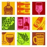 τα αντικείμενα τέχνης αλκοόλης σκάουν το κρασί ελεύθερη απεικόνιση δικαιώματος