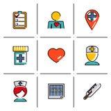 Τα απομονωμένα εικονίδια γραμμών καθορισμένα τη ιατρική φροντίδα και την υγεία Στοκ φωτογραφία με δικαίωμα ελεύθερης χρήσης