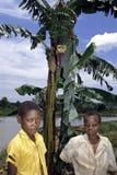 Τα από την Ουγκάντα παιδιά θέτουν για ένα δέντρο και μια λίμνη μπανανών Στοκ εικόνες με δικαίωμα ελεύθερης χρήσης