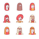 Τα αραβικά και μουσουλμανικά εικονίδια προσώπων ανθρώπων λεπταίνουν το σύνολο γραμμών Στοκ εικόνες με δικαίωμα ελεύθερης χρήσης