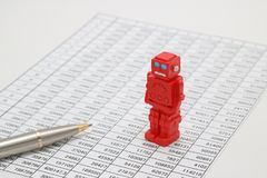 Τα αρρενωπά ρομπότ ή η τεχνητή νοημοσύνη και οι αριθμοί γράφονται τα έγγραφα σχετικά με το άσπρο υπόβαθρο Στοκ φωτογραφία με δικαίωμα ελεύθερης χρήσης