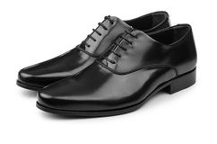 Τα αρσενικά μαύρα παπούτσια που απομονώνονται στο λευκό Στοκ Εικόνες