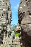 Τα αρχαία πρόσωπα πετρών του ναού Bayon, Angkor, Siem συγκεντρώνουν, Καμπότζη 1 Σεπτεμβρίου 2016 Στοκ Εικόνες