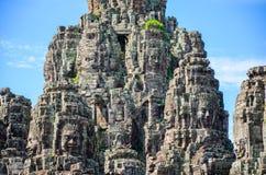 Τα αρχαία πρόσωπα πετρών του ναού Bayon, Angkor, Siem συγκεντρώνουν, Καμπότζη 1 Σεπτεμβρίου 2015 Στοκ Φωτογραφία