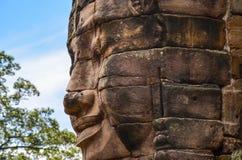 Τα αρχαία πρόσωπα πετρών του ναού Bayon, Angkor, Siem συγκεντρώνουν, Καμπότζη 1 Σεπτεμβρίου 2015 Στοκ φωτογραφίες με δικαίωμα ελεύθερης χρήσης