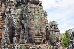 Τα αρχαία πρόσωπα πετρών του ναού Bayon, Angkor, Siem συγκεντρώνουν, Καμπότζη 1 Σεπτεμβρίου 2015 Στοκ φωτογραφία με δικαίωμα ελεύθερης χρήσης