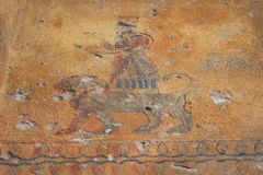 Τα αρχαία τοίχος-έργα ζωγραφικής στο φρούριο Erebuni (Αρμενία) Στοκ εικόνα με δικαίωμα ελεύθερης χρήσης