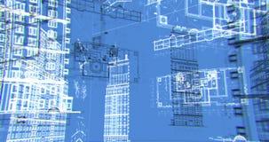 Τα αρχιτεκτονικά και κατασκευαστικά σχέδια, περιτυλίχτηκαν μπλε υπόβαθρο απεικόνιση αποθεμάτων