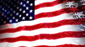 Τα αστέρια & τα λωρίδες ΗΠΑ σημαιοστολίζουν τρισδιάστατο (βρόχος) ελεύθερη απεικόνιση δικαιώματος